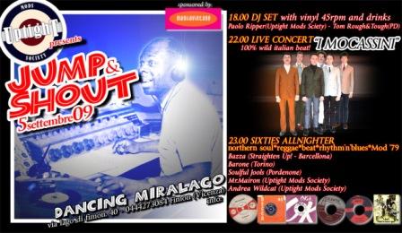 flyer Jump & Shout All Nighter al Dancing Miralago