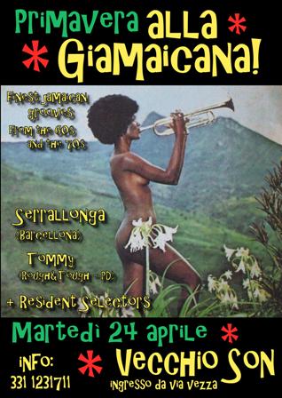 flyer della serata ska, reggae, roots al Vecchio Son di Bologna