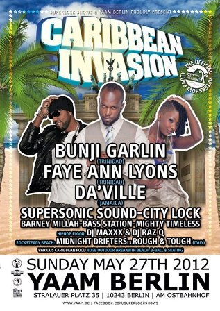 "flyer serata Caribbean Invasion allo YAAM di Berlino"" title=""Rough&Tough @ Caribbean Invasion – Yaam, Berlino"