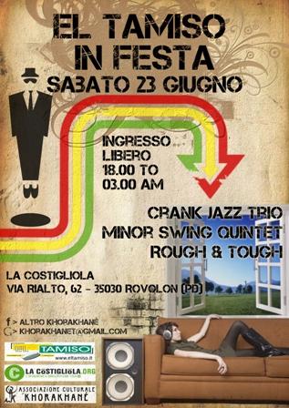 live jazz e dj-set ska, reggae, r&b, funk a  El Tamiso in Festa, Rovolon (Padova)