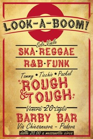 flyer della serata reggae e r&b Look-A-Boom al Barby Bar di Padova