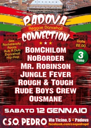 flyer serata Padova Reggae Dancehall Connection al CSO Pedro