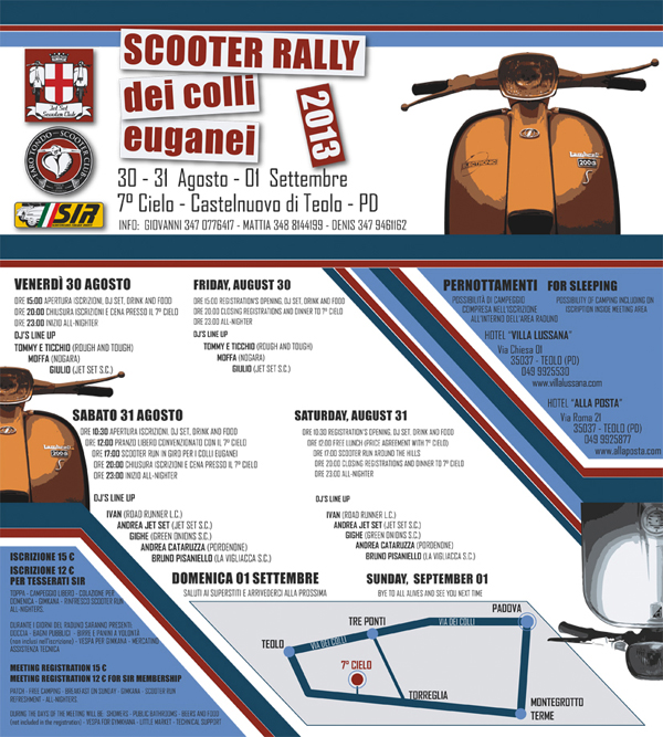 venerdì 30 e sabato 31 agosto 2013, Scooter Rally dei Colli Euganei al 7° Cielo di Torreglia (Padova)