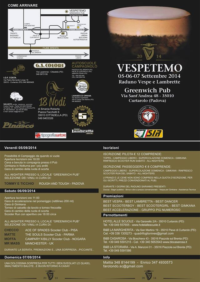 programma Vespetemo 2014 Raduno Faro Tondo Scooter Club Padova