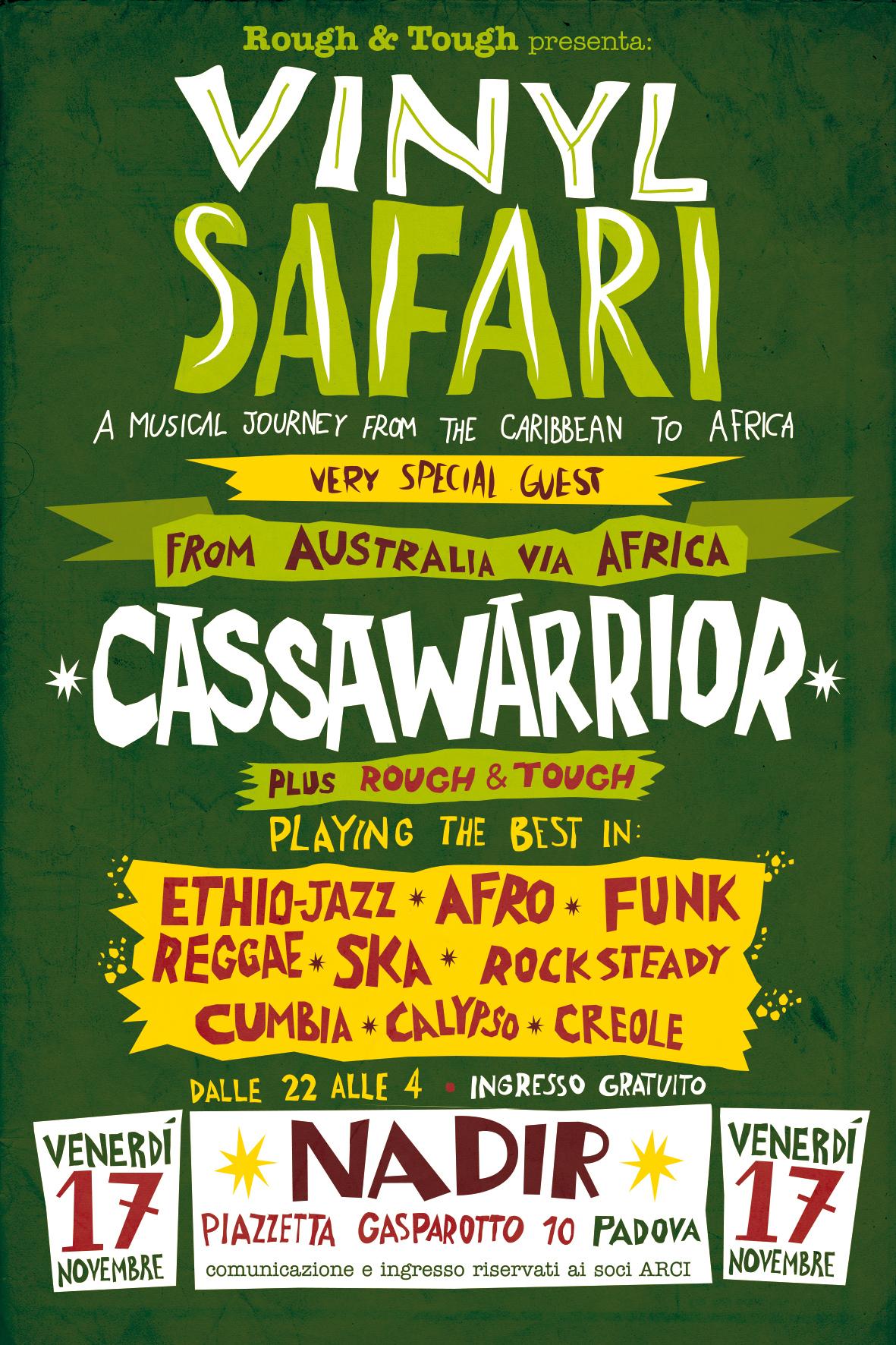 vinyl safari, serata musica africana reggae latina, venerdì 17 novembre 2017 a Padova